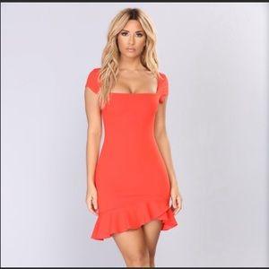 Fashion Nova square neck orange/red dress